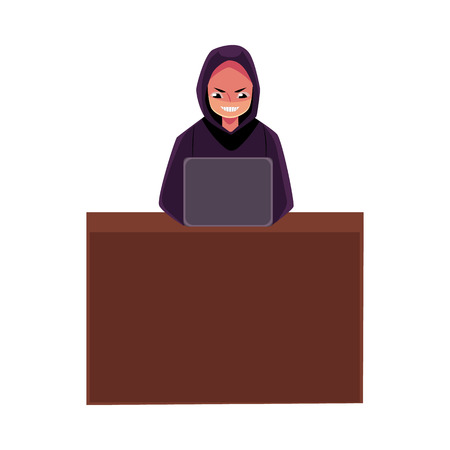 Hacker in black hoodie using laptop for cybercrime, Internet fraud, cartoon vector illustration isolated on white background. Cybercrime, Internet fraud illustrated as hacker working on laptop