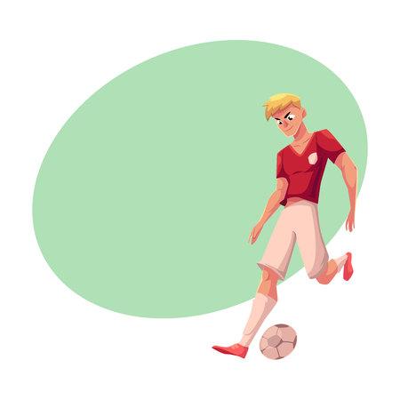 ハンサムな金髪サッカー、均一なドリブル、ボール、テキスト用のスペースと漫画ベクトル図のフットボール選手。プロのサッカー選手を実行して