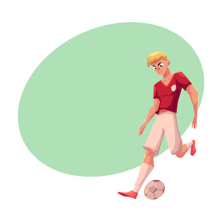 Handsome blond soccer, football player in uniform dribbling a ball, cartoon vector illustration with space for text. Professional soccer player dribbling a ball, running, playing football Illustration