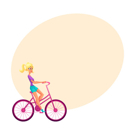 length: Young pretty blond woman, girl riding pink bicycle, cycling, cartoon vector illustration with space for text. Full length side view portrait of pretty blond woman riding pink bicycle, cycling Illustration