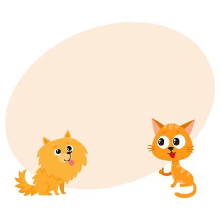 Pomeranianspitz hond en rode kat, katjekarakters, vriendschapsconcept, beeldverhaal vectorillustratie met ruimte voor tekst. Mooie spitz-hond en rode kattenkarakters, vrienden die samen spelen Stockfoto