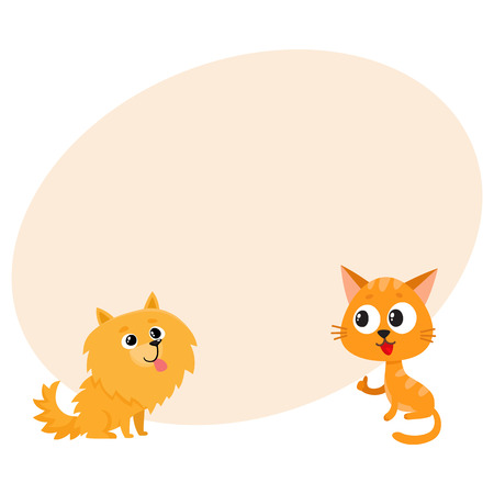 Pomeranian spitz dog and red cat, kitten characters, friendship concept, cartoon vector illustration with space for text. Lovely spitz dog and red cat characters, friends playing together