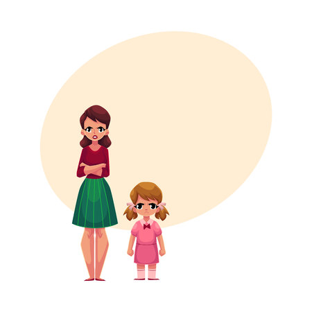 Young woman and little girl, mother and daughter standing with frowned, angry faces, cartoon vector illustration with space for text. Frowning mother and daughter, elder and younger sisters standing