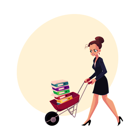 Sad, frustrated businesswoman pushing wheelbarrow with document folders, cartoon vector illustration with space for text. Woman pushing wheelbarrow with document folders
