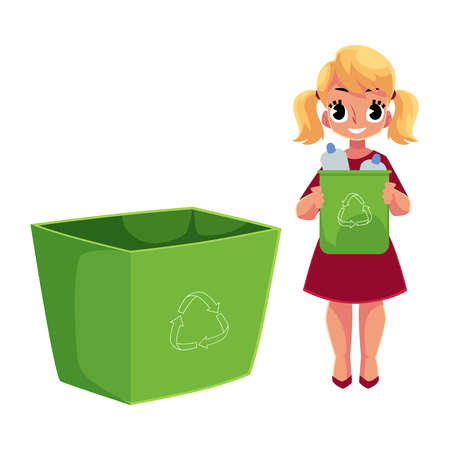 Girl holding trash bin with plastic bottles, garbage recycling concept, cartoon vector illustration isolated on white background. Full length portrait of girl throwing plastic bottles into trash bin