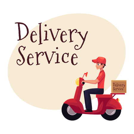 Delivery service banner with portrait worker riding scooter, motorcycle loaded with boxes, cartoon vector illustration isolated on white background, clipboard and package