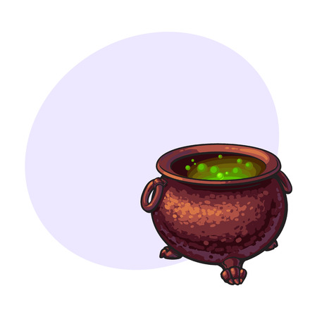 attribute: Halloween cauldron with boiling green potion inside, sketch style vector illustration with space for text. Hand drawn, sketch style caldron, caulron, witchcraft accessory, Halloween object Illustration