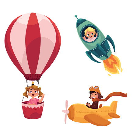 Kinder, Kinder fliegen in Flugzeugen - Flugzeug, Rakete, Heißluftballon, Cartoon Vektor-Illustration isoliert auf weißem Hintergrund. Kleine Kinder in Flugzeugen - Raumschiff, Rakete, Heißluftballon, Flugzeug Vektorgrafik