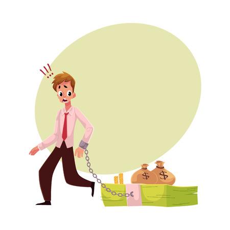Jeune homme avec la main enchaîné à faisceau de billets de banque, notion de dépendance argent, illustration de vecteur de dessin animé avec un espace pour le texte. Main enchaînée à un paquet d'argent, dépendance financière Banque d'images - 80232978