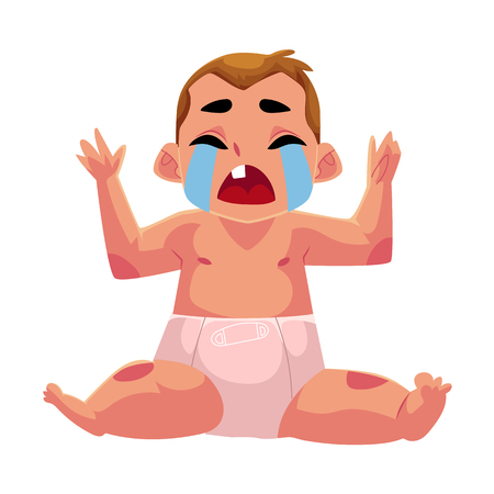 Front view portrait of cute little baby kid, infant, child in diaper sitting and crying hard, cartoon vector illustration isolated on white background. Crying little kid, baby, infant in diaper Stock Vector - 80230001