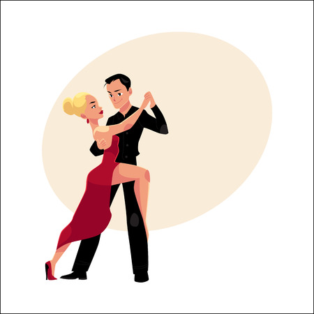 Couples of professional ballroom dancers dancing tango, looking at each other, cartoon vector illustration with space for text. Ballroom dance couple dancing tango, woman in red, man in black