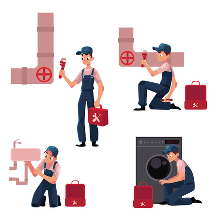 Plumbing specialist at work, repairing sewage pipes, sink, washing machine, cartoon vector illustration isolated on white background. Plumber, plumbing specialist, repairman at work, fixing, repairing Illustration