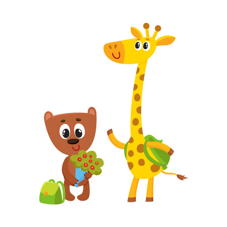 Cute animal student characters, bear holding bunch of flowers, giraffe with backpack, cartoon vector illustration isolated on white background. Little animals, Back to school concept Ilustração