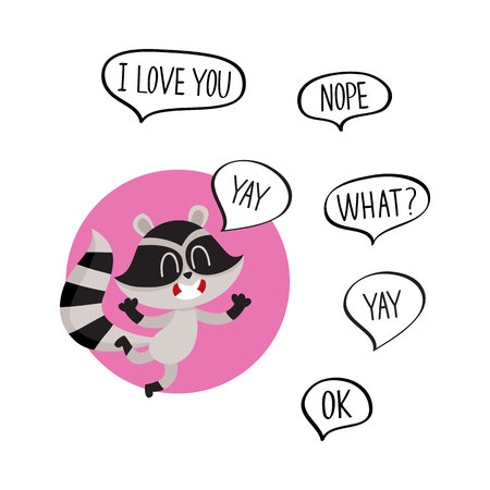 Cute raccoon character jumping from happiness with word Yay in speech bubble and additionally phrase, cartoon vector illustration isolated on white background.