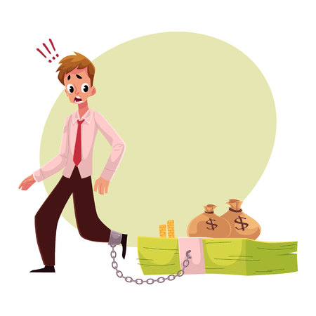 Jeune homme avec la jambe enchaîné à un faisceau de billets de banque, concept de dépendance à l'argent, illustration vectorielle de dessin animé avec un espace pour le texte. Homme avec pied enchaîné à un gros d'argent, dépendance financière Banque d'images - 80195649