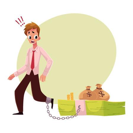 Jonge man met been geketend aan bundel bankbiljetten, geld afhankelijkheids concept, cartoon vector illustratie met ruimte voor tekst. Man met voet geketting naar geldbundel, financiële afhankelijkheid