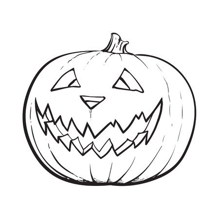 A black and white Jack o lantern, ripe pumpkin with carved scary face , traditional Halloween symbol, sketch vector illustration isolated on white background.
