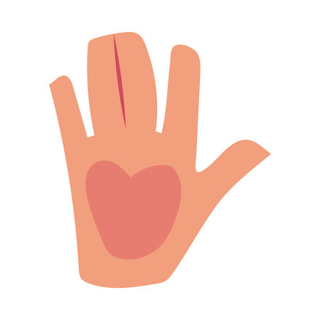 Caucasian human hand showing, giving high five, greeting, saluting symbol, cartoon vector illustration isolated on white background. Cartoon hand showing high five, friendly greeting, saluting symbol