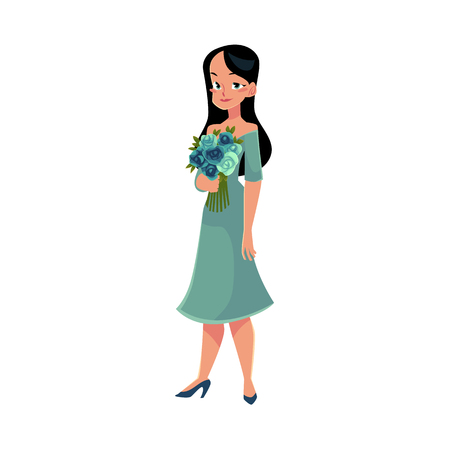 Beautiful woman, girl, bride with long black hair holding bunch of roses, cartoon vector illustration isolated on white background. Full length portrait of happy girl, woman with bunch of rose flowers Stock fotó - 80259743