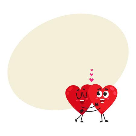 2 つの心を抱いて、テキスト用のスペース、ベクトル図の漫画愛の概念のカップルは、お互いを受け入れします。心を抱いて、永遠の愛の概念、バレ