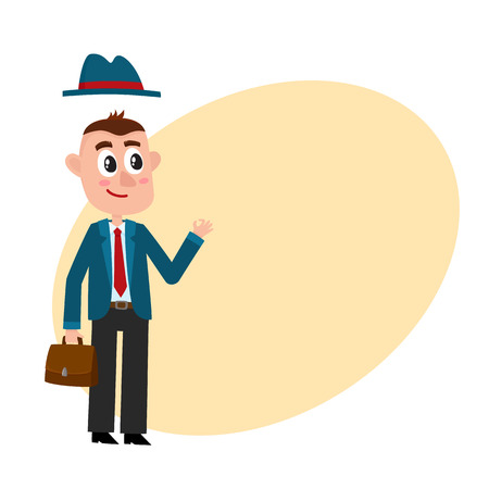 Funny businessman in business suit and removable hat, holding briefcase, showing okay sign, cartoon vector illustration with space for text. Funny cartoon businessman with briefcase and removable hat Illustration