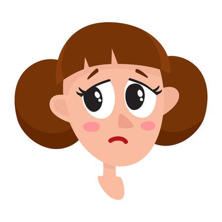 かなり茶色髪の女性、泣いている表情、白い背景で隔離の漫画ベクトル イラスト。美人は泣いて、壊れて、悲しみの涙、悲しい心を流します。