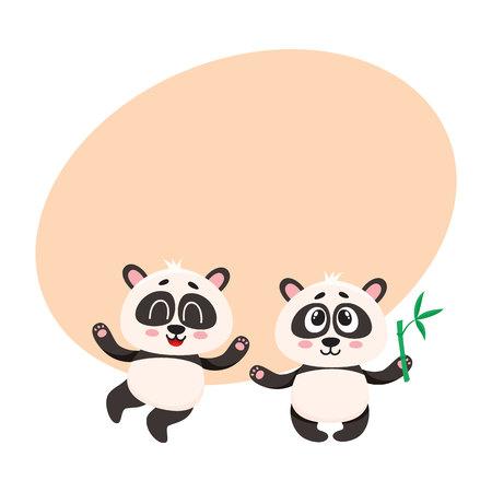 Twee leuke, grappige gelukkige karakters die van de babypanda status, omhoog, beeldverhaal vectorillustratie met ruimte voor tekst kijken. Het paar van leuke kleine panda draagt ??karakters, omhoog opgeheven mascottes met poten