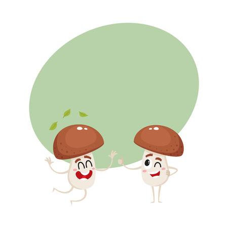 Deux personnages de champignons porcini drôle, l'un sautant du bonheur, un autre montrant le pouce vers le haut, illustration de vecteur de dessin animé avec un espace pour le texte. Couple de joyeux champignons champignons porcini Banque d'images - 80260309