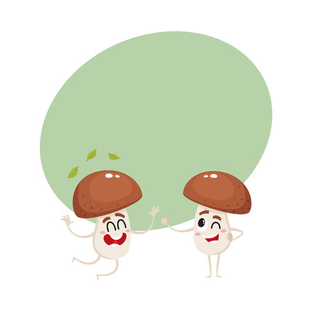 Two funny porcini mushroom characters, one jumping from happiness, another showing thumb up, cartoon vector illustration with space for text. Couple of happy porcini mushroom characters