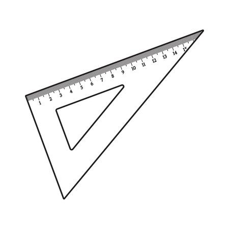 簡単な手描き下ろしプラスチック角度定規。  イラスト・ベクター素材
