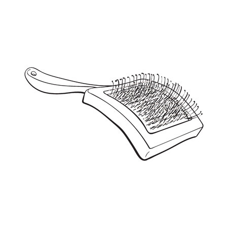 bristles: Pet, cat, dog hair brush, grooming accessory, black and white sketch style vector illustration isolated on white background. Hand drawn illustration of brush, grooming tool for pet, dog, cat care