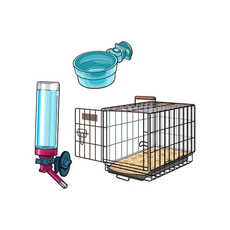 Metail wire pet travel carrier, feeding bowl and refillable drinker, sketch vector illustration isolated on white background. Hand drawn Metal wire cage, carrier, bowl, drinker for pet transportation