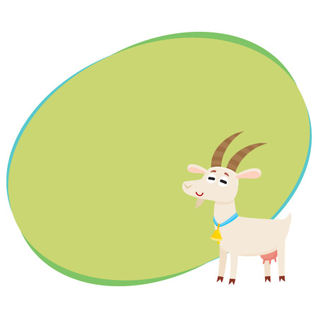 Farm goat with big eyes and horns, wearing bell, cartoon vector illustration with space for text. Cute and funny farm goat with friendly face and big eyes