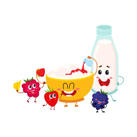 Funny bowl of cottage cheese, milk bottle and berry characters, healthy breakfast, cartoon vector illustration isolated on white background. Cute cottage cheese bowl, milk bottle and berry characters Illustration