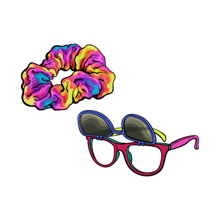 Personal items from 90s - wayfarer sunglasses with removable lenses and scrunchie hair tie, sketch vector illustration isolated on white background. Retro sunglasses and fabric covered hair band Illustration