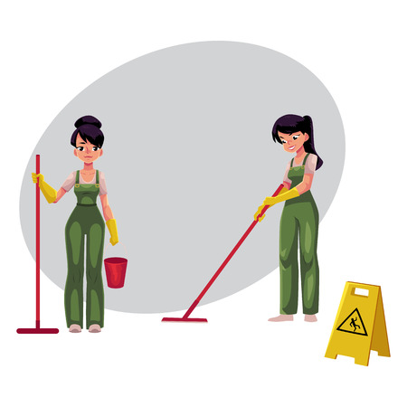 Two cleaning service girls, charwomen in overalls using mops and bucket, wet floor sign, cartoon vector illustration with space for text. Cleaning service girls in uniforms washing floor Ilustracja