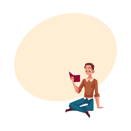 Young man, boy reading book sitting on the floor, cartoon vector illustration with space for text. Full length portrait of man, guy sitting, holding a book, reading
