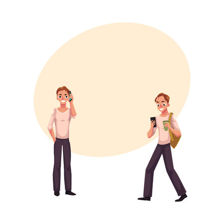 Young man talking by mobile phone standing, using smartphone on the go, cartoon vector illustration with space for text. Young man using mobile phone while standing and walking Illustration