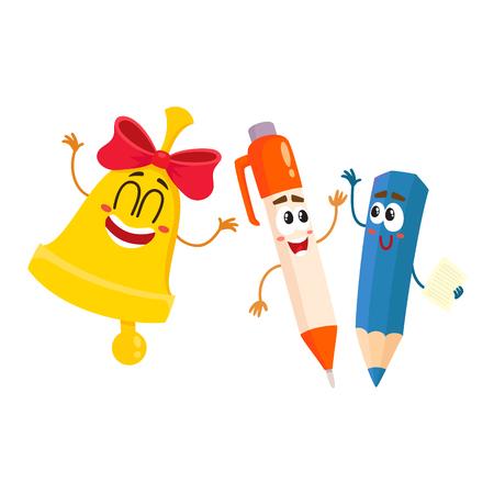 Leuke, grappige lachende pen, potlood, gouden bell karakters, terug naar school concept, cartoon vectorillustratie geïsoleerd op een witte achtergrond. Gelukkige schoolkarakters, mascottes - pen, potlood, schoolklok