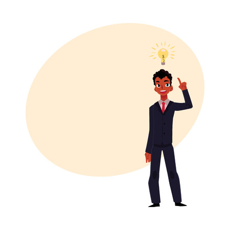 Black African businessman having idea, light bulb as symbol of business insight, cartoon vector illustration with space for text. Black businessman, manager has idea, insight, inspiration