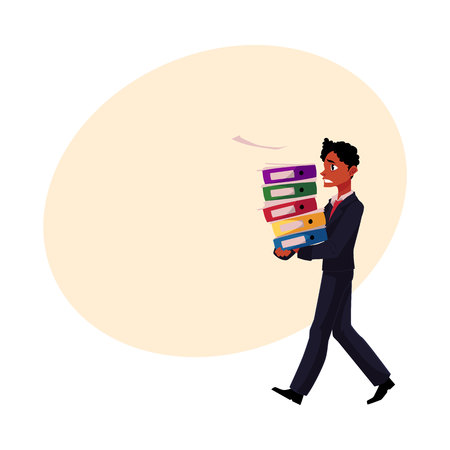 Black, African American businessman overloaded with document folders, stressed out, cartoon vector illustration with space for text. Black businessman with document folders, feeling stressed Illustration