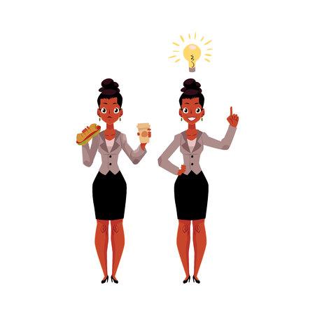 Zwarte, African American zakenvrouw eet broodje en koffie, krijgt idee, zakelijk inzicht, cartoon vectorillustratie geïsoleerd op een witte achtergrond. Zwarte zakenvrouw krijgt lunch, heeft business idee
