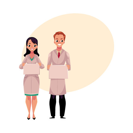 Male and female doctors in white medical coats holding blank board, sign for text, cartoon vector illustration with space for text. Full length portrait of two doctors with blank boards