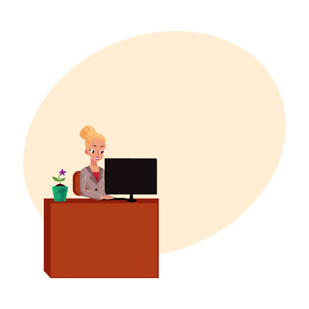 Young pretty blond businesswoman, secretary, working on computer at office table, cartoon vector illustration with space for text. Businesswoman, secretary, office manager working on computer