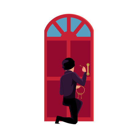 Thief, burglar trying to break in house by lockpicking door, cartoon vector illustration isolated on white background. Burglar, robber, thief in disguise breaking into house, trying to force open door Stock Photo