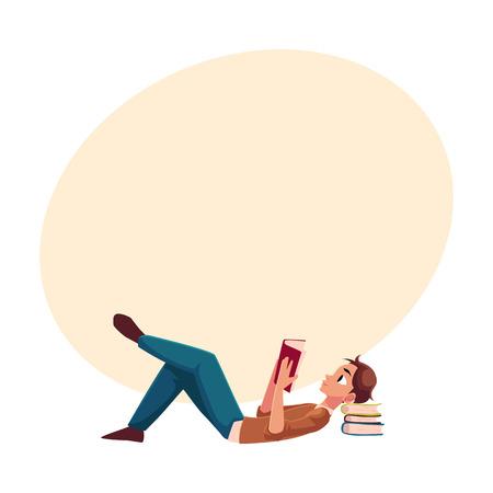 若い男が、少年、テキスト用のスペースと側面漫画ベクトル図に床に横たわって本を読んで。本を読む横になっている男、人間の完全な長さの肖像 写真素材