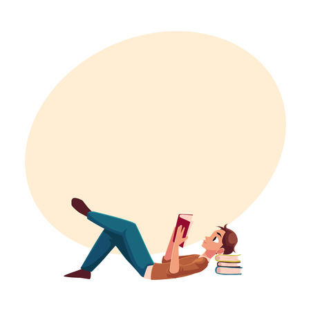 Young man, boy reading book lying on the floor, side view cartoon vector illustration with space for text. Full length portrait of man, guy lying with a book, reading Banco de Imagens