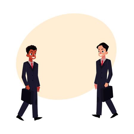 ビジネスのブラック アフリカ系アメリカ人と白人の笑みを浮かべてビジネスマンは、ブリーフケース、テキスト用のスペースと漫画ベクトル図でス 写真素材