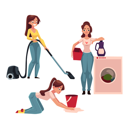 cleanliness: Young woman, housewife doing chores - washing and vacuum cleaning the floor, cartoon vector illustration isolated on white background. Womanw ashing clothes, girl cleaning her house, ironing Stock Photo