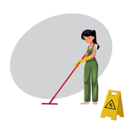Cleaning service girl, charwoman, cleaner in overalls holding mop and bucket, cartoon vector illustration with space for text. Cleaning service girl holding mop and bucket, wearing uniform Zdjęcie Seryjne - 80523385